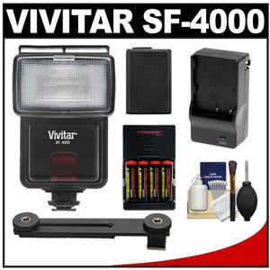 Vivitar SF-4000 Auto Bounce Zoom Slave Flash with Bracket + NP-FW50 Battery + Batteries and Charger Kit for Sony Alpha A3000 A5000 A6000 NEX-5T 6