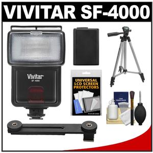 Vivitar SF-4000 Auto Bounce Zoom Slave Flash with Bracket + NP-FW50 Battery + Tripod + Cleaning Kit for Sony Alpha A3000 A5000 A6000 NEX-5T 6 7