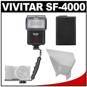 Vivitar SF-4000 Auto Bounce Zoom Slave Flash with Bracket + NP-FW50 Battery + Flash Reflector Kit for Sony Alpha A3000 A5000 A6000 NEX-5T 6 7