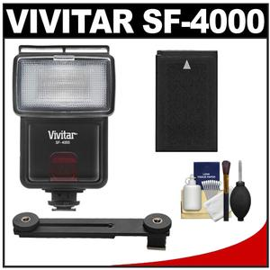 Vivitar SF-4000 Auto Bounce Zoom Slave Flash with Bracket + EN-EL20 Battery + Cleaning Kit for Nikon 1 J1 J2 J3 S1 V3 Digital Cameras