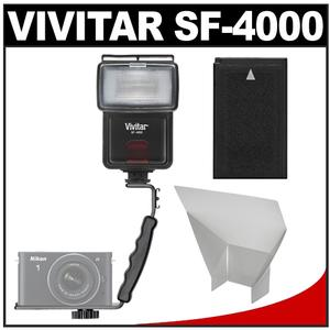 Vivitar SF-4000 Auto Bounce Zoom Slave Flash with Bracket and EN-EL20 Battery and Flash Reflector and Accessory Kit for Nikon 1 J1 J2 J3 S1 V3 Cameras