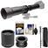 Vivitar 650-1300mm f/8-16 Telephoto Lens (Black) (T Mount) with 2x Teleconverter (=2600mm) + Monopod + Kit