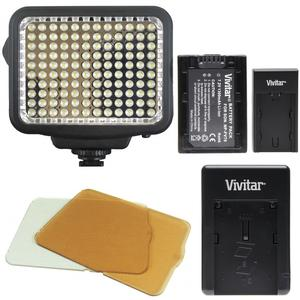 Vivitar VL-900 120 LED Video Light with 2 Diffusers Battery and Charger
