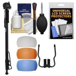 Vivitar VT720 72 inch Monopod with Pan Head Foot Support and Case with Flash Filters + Cleaning Kit