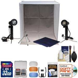 Xit Portable Light Box Photo Studio with 2 Backgrounds 2 Lights Tripod and Carrying Case with 32GB Card and Flash Diffusers and Accessory Kit