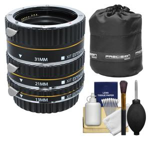 Xit Pro Series AF Macro Extension Tube Set - for Canon EOS Cameras - with Lens Pouch + Accessory Kit