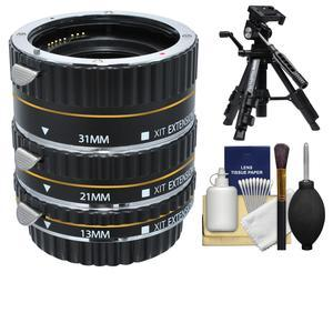Xit Pro Series AF Macro Extension Tube Set - for Canon EOS Cameras - with Tripod + Accessory Kit