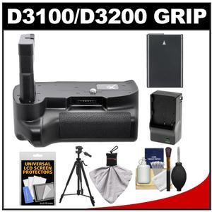 Xit Pro Series Multi-Power Battery Grip for Nikon D3100 & D3200 Digital SLR Cameras with EN-EL14 Battery & Charger + Tripod + Accessory Kit
