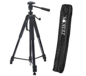 "Zeikos 75"" ZE-TR125B Professional Series Tripod with 3-Way Fluid Panhead & Case"