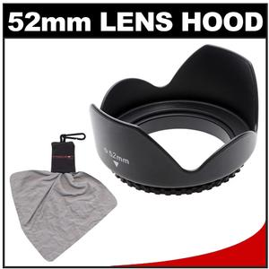 Zeikos 52mm Professional Tulip Hard Lens Hood with Microfiber Lens Cleaning Cloth Spudz