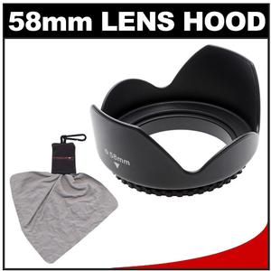 Zeikos 58mm Professional Tulip Hard Lens Hood with Microfiber Lens Cleaning Cloth Spudz