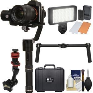 Zhiyun Crane V2 3-Axis Bluetooth Handheld Gimbal Stabilizer for ILC - DSLR Cameras and Hard Case with Dual Handle Bar + Articulating Friction Arm + LED Video Light + Kit