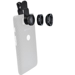 Zuma 3-in-1 Clip-on Fisheye Macro and .67x Wide-Angle Lens Set for Smartphones and Tablets