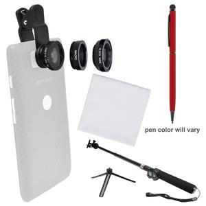 Zuma 3-in-1 Clip-on Fisheye Macro and .67x Wide-Angle Lens Set for Smartphones and Tablets with Selfie Stick + Stylus Pen + Cleaning Cloth + Kit