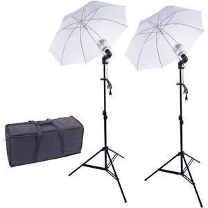 ZUMA 600 eWatt LED Dual Umbrella Studio Light Kit with 2 Lights 2 Stands 2 Umbrellas and Case